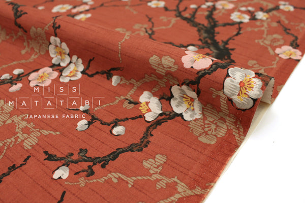Japanese Fabric Kokka Ume Blossoms - clay red - 50cm