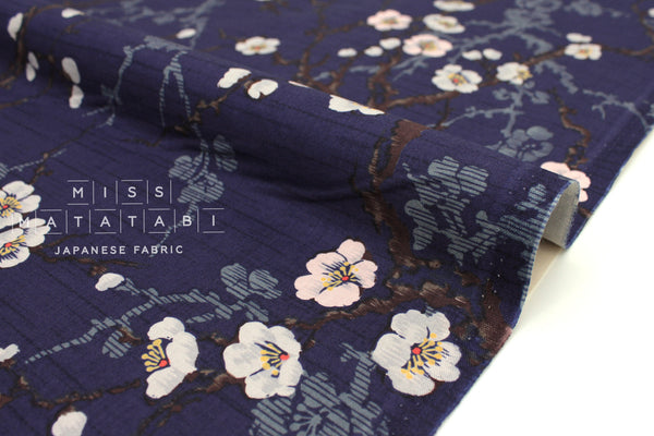 Japanese Fabric Kokka Ume Blossoms - blue - 50cm