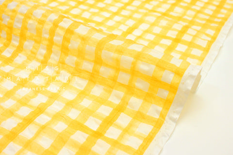 Japanese Fabric Seersucker Gingham lawn - yellow - 50cm