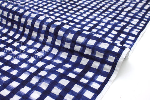 Japanese Fabric Seersucker Gingham lawn - indigo blue - 50cm