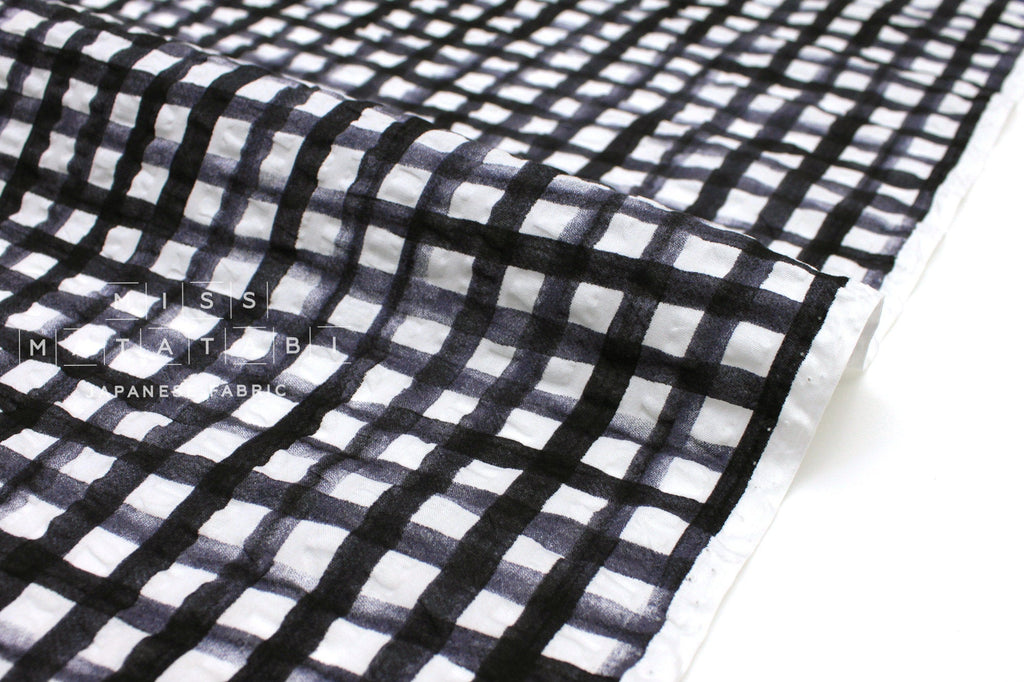 Seersucker Gingham Lawn Black Miss Matatabi Japanese Fabric