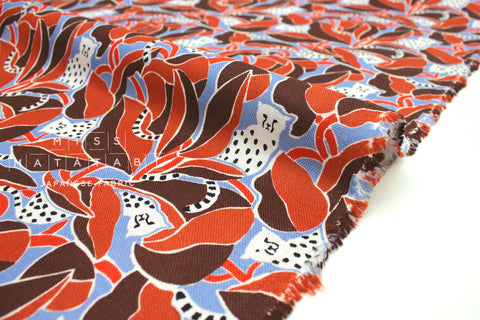 Japanese Fabric Cheetah - earth, blue - 50cm