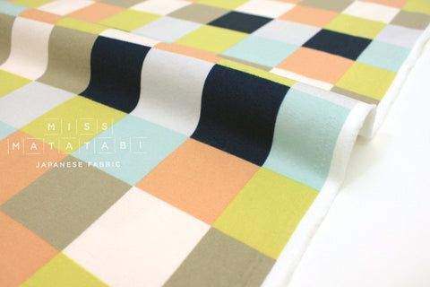 Japanese Fabric Check flannel - navy, peach, green - 50cm