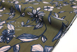 Japanese Fabric Sketched Floral rayon lawn - khaki, pale peach - 50cm