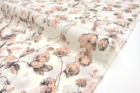 Japanese Fabric Flora cotton lawn - peach - 50cm