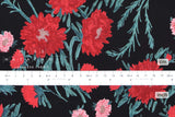 Japanese Fabric Kiku Hana cotton lawn - black, red, green - 50cm