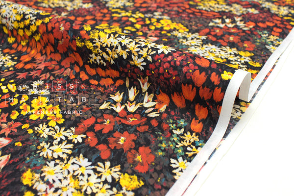 Japanese Fabric Field of Flowers cotton lawn - orange - 50cm