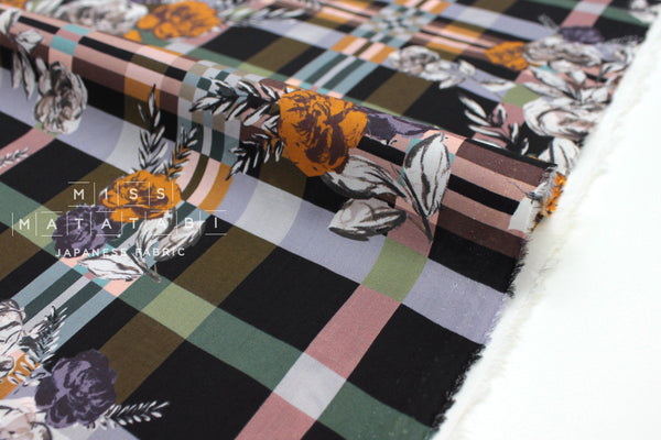 Japanese Fabric La Maison cotton lawn - burnt orange, green - 50cm