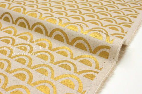 Japanese Fabric Kokka Ellen Baker Paper - Bridge metallic gold C - fat quarter