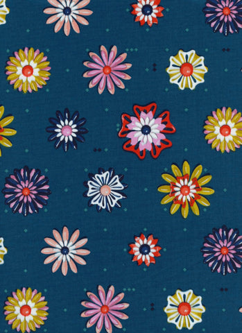 Cotton + Steel Picnic - enamel flowers teal - 50cm