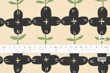 Japanese Fabric Kokka Scandinavian Flower - black, cream - 50cm