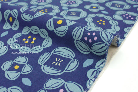 Japanese Fabric Kokka Scandinavian Flower II - blue - 50cm