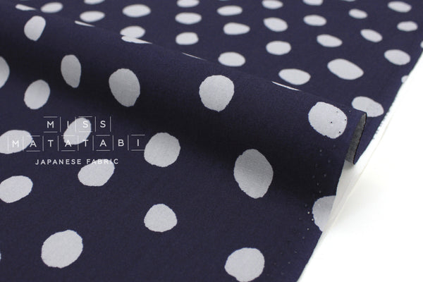 Japanese Fabric Soft Dots - navy blue, grey - 50cm