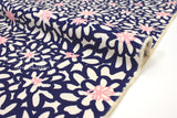 Japanese Fabric Happy Floral canvas - blue, pink -  50cm