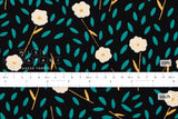 Japanese Fabric Floating Floral - black, green - 50cm