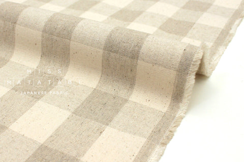 Japanese Fabric Woven Big Gingham - natural - 50cm