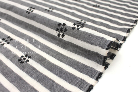 Japanese Fabric Kokka Yarn Dyed Embroidered Double Gauze - starburst - black, charcoal - 50cm