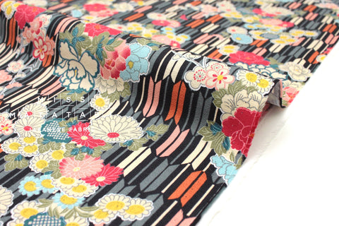Japanese fabric Peony and Arrows - black, grey, persimmon, peach - 50cm