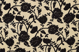 Japanese Fabric Floral Linen Double Gauze - black - 50cm