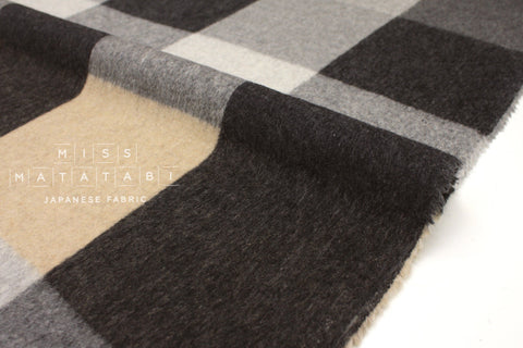 Japanese Fabric Yarn Dyed Wool Large Plaid - 50cm