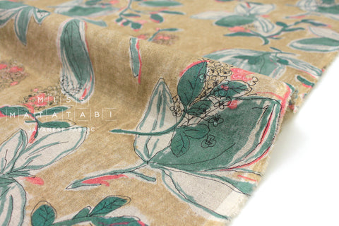 Japanese Fabric 100% Linen Leaves - coral peach, green -  50cm