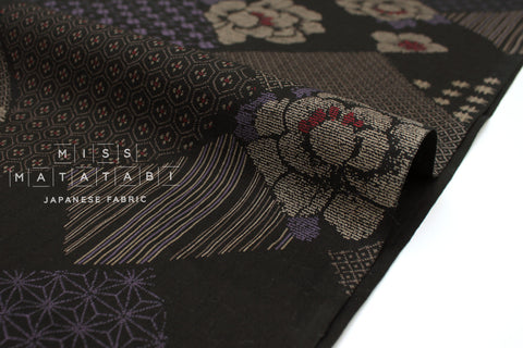 Japanese Fabric Komon Tsunagi dobby - black, purple - 50cm