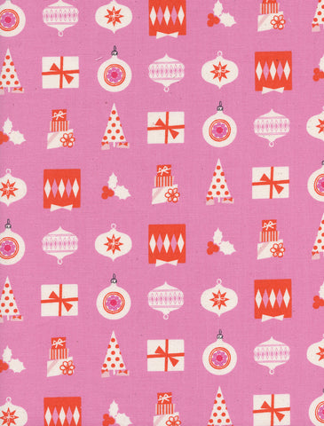 Cotton + Steel Noel - wrapped up pink - 50cm