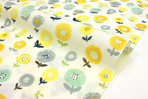 Japanese Fabric Kobayashi Kawaii Floral - yellow, green - 50cm