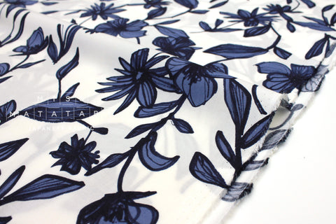 Japanese Fabric Sketched Floral rayon lawn - blue - 50cm
