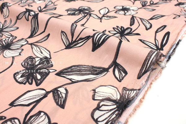 Japanese Fabric Sketched Floral rayon lawn - dusty pink - 50cm