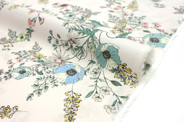 Japanese Fabric Vintage Floral - green, blue - 50cm