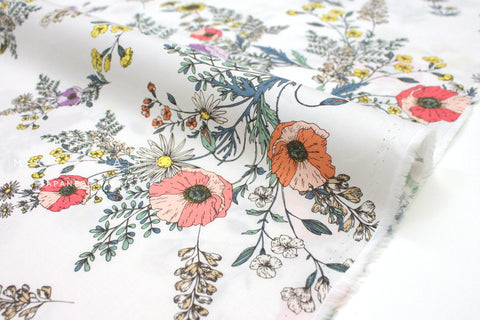 Japanese Fabric Vintage Floral - peach , lilac - 50cm