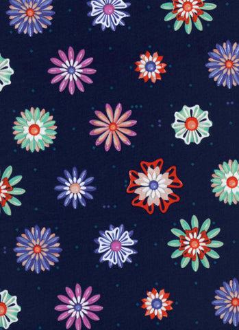 Cotton + Steel Picnic - enamel flowers navy blue - 50cm