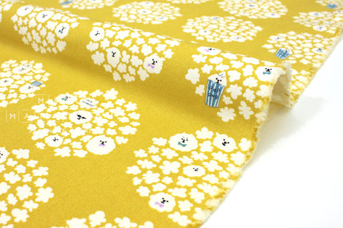 Japanese Fabric Pop Dogs canvas - yellow -  50cm
