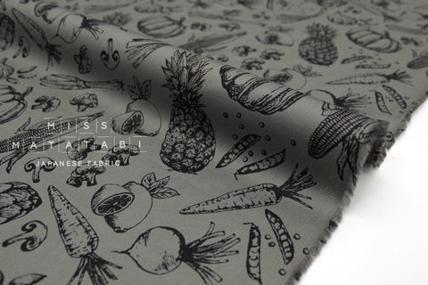 Japanese Fabric Vegetables cotton lawn - grey grey - 50cm