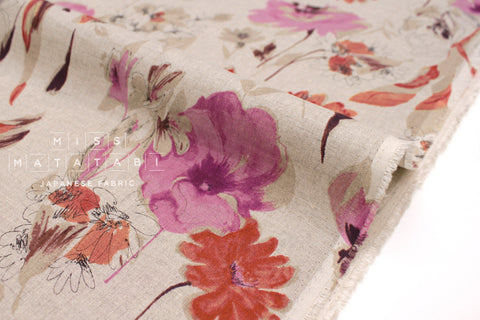 Japanese Fabric 100% Linen Petals - pink, orange -  50cm