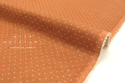 Japanese Fabric 100% Linen Dots - burnt orange -  50cm