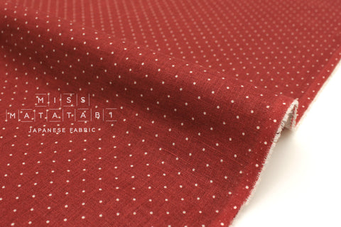 Japanese Fabric 100% Linen Dots - dark red -  50cm