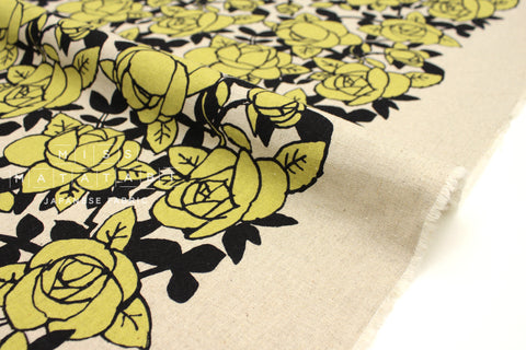 Japanese Fabric Roses - chartreuse, black - 50cm