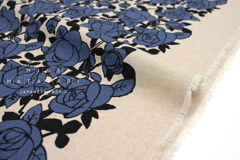 Japanese Fabric Roses - blue, black - 50cm