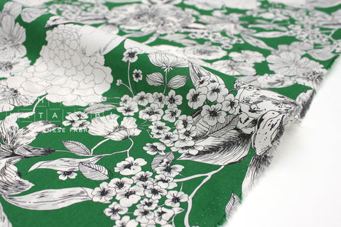 Japanese Fabric Sketched Floral cotton lawn - green - 50cm