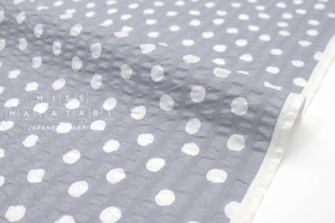 Japanese Fabric Seersucker Dots lawn - grey - 50cm