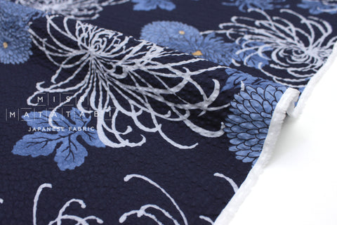 Japanese Fabric Seersucker Spider Lily and Kiku - blue - 50cm