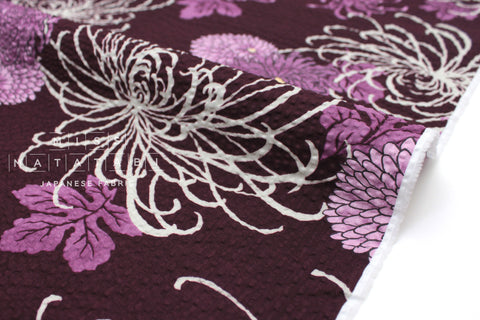 Japanese Fabric Seersucker Spider Lily and Kiku - plum - 50cm