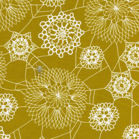 Cotton + Steel Spellbound - doily web mustard - 50cm