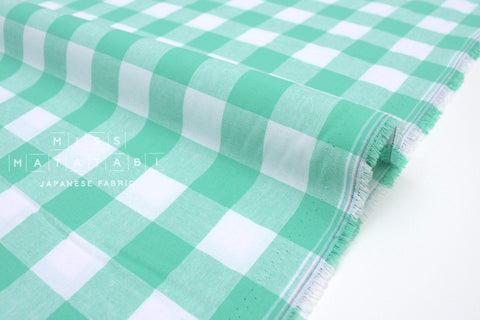 Cotton + Steel Checkers - mint green 1 inch gingham - 50cm