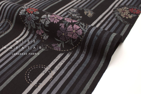 Japanese Fabric Kobana Dobby - black, grey - 50cm