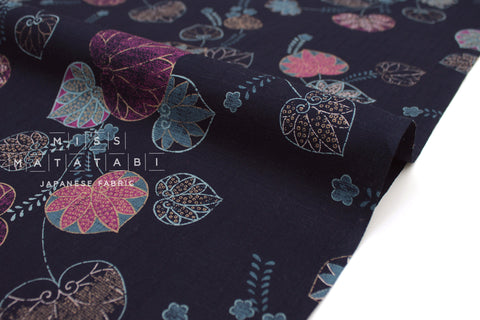 Japanese Fabric Aoi Hollyhock Dobby - indigo blue - 50cm