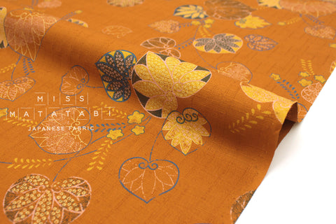 Japanese Fabric Aoi Hollyhock Dobby - terracotta - 50cm