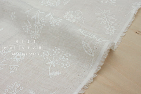Japanese Fabric 100% linen La Vie En Rose - white - 50cm